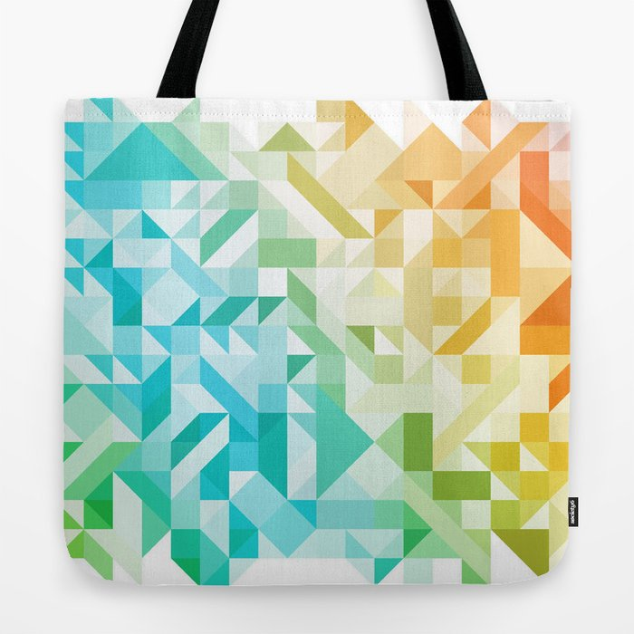 Colorful Geometric Pattern Saturated Rainbow Pattern Design (Red Pink Orange Yellow Green Blue) Tote Bag