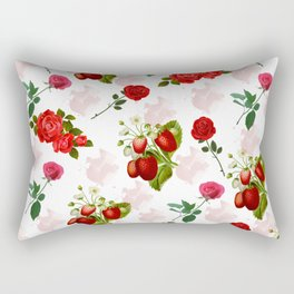 Roses and Strawberry Pattern Rectangular Pillow