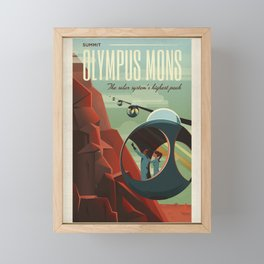 Retro Space Travel Poster - Olympus Mons. Framed Mini Art Print
