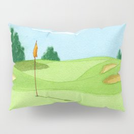 Golf Course Putting Green Watercolor Painting Pillow Sham