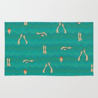 swimming Area & Throw Rugs featuring Swimming by Mimi