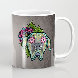 Great Dane with Floppy Ears - Day of the Dead Sugar Skull Dog Coffee Mug