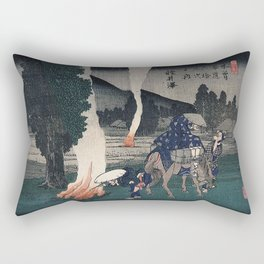 Hiroshige Travellers lighting their pipes by a fire Rectangular Pillow
