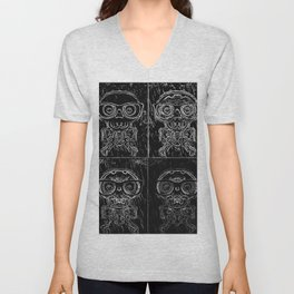 funny skull and bone with glasses in black and white Unisex V-Neck