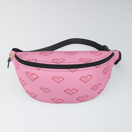 Pixel Heart Pattern on a Pink Background Fanny Pack