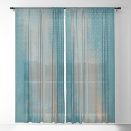 ABUR with Gold on Turquoise Sheer Curtain