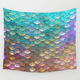 Aqua and Gold Mermaid Scales Wall Tapestry