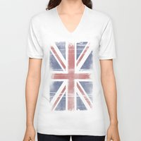 flag V-neck T-shirts featuring Flag by loveme
