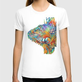 Colorful Iguana Art - One Cool Dude - Sharon Cummings T-shirt
