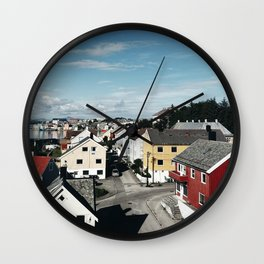 norwegian village in the fjord Wall Clock