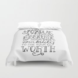Your Value Quote - Hand Lettering Black Ink Duvet Cover