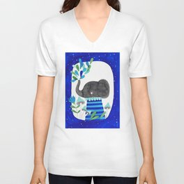 elephant with raindrops in blue watercolor illustration Unisex V-Neck