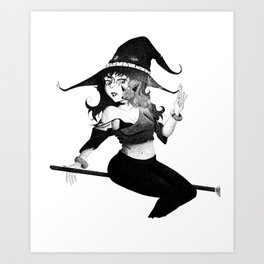 The Witch Pen and Ink Art Print