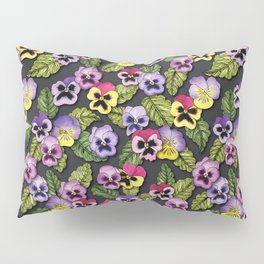 Purple, Red & Yellow Pansies With Green Leaves - Floral/Botanical Pattern Pillow Sham
