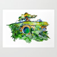 hobbit Art Prints featuring hobbit hole by Jonny Moochie