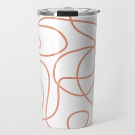 Doodle Line Art | Coral Lines on White Background Travel Mug