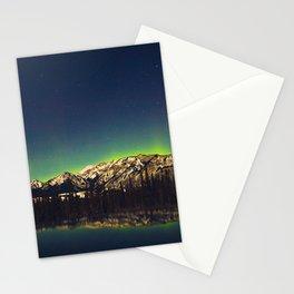 Northern Light Green Aurora Over Dark Arctic Mountains Landscape Stationery Cards