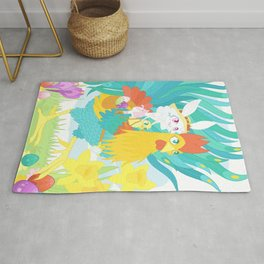 Easter Bunny and Rooster Collecting Eggs Rug