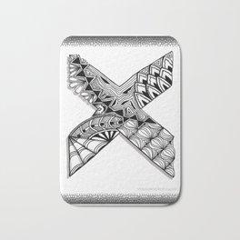 Zentangle X Monogram Alphabet Initial Bath Mat