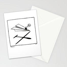 Ninja flies a Paper Plane Stationery Cards