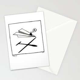 Ninja flies a Paper Plane Stationery Cards