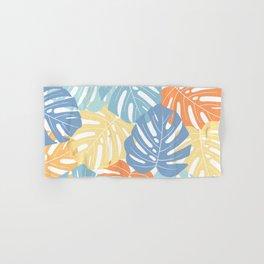 Monstera leaves Colorful Jungle leaves Palm leaves Tropical art Hand & Bath Towel