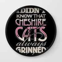 cheshire Wall Clocks featuring Cheshire Cats by Tom Davie