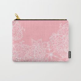 Modern white floral pattern handdrawn illustration on girly pastel pink Carry-All Pouch