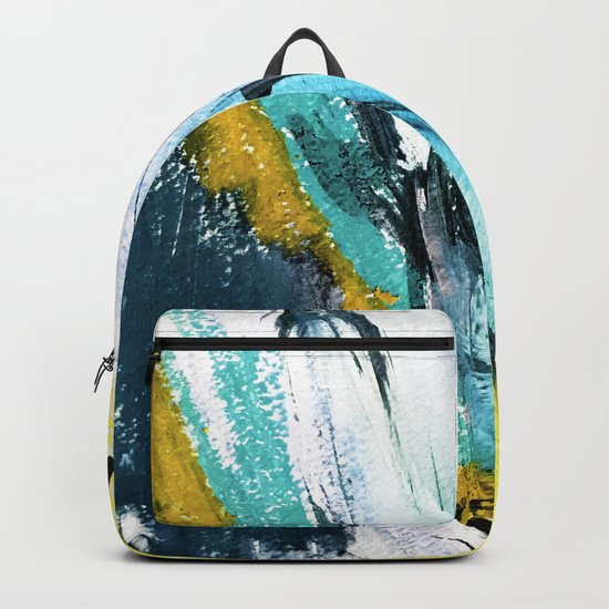 Splash: a vibrant mixed media piece in blues and yellows Backpack