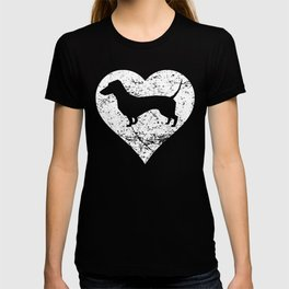 Distressed Dachshund Heart Dog Owner Graphic T-shirt