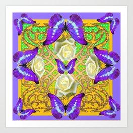 LILAC PURPLE BUTTERFLIES ABSTRACT GARDEN Art Print