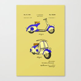 Motor Bicycle Patent Circa 1949- Blue Canvas Print