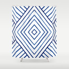Watercolor lines pattern | Navy blue Shower Curtain
