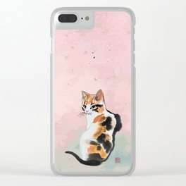 Green eyed calico Clear iPhone Case