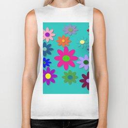 Flower Power - Teal Background - Fun Flowers - 60's Style - Hippie Syle Biker Tank