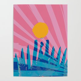 Yellow sun in the pink sky of the French Riviera Poster