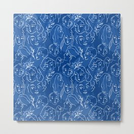 Pattern from women faces on blue background Metal Print