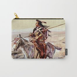 """""""Indian With Spear """" by Charles M Russell Carry-All Pouch"""