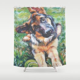 German Shepherd dog portrait painting by L.A.Shepard fine art alsatian Shower Curtain