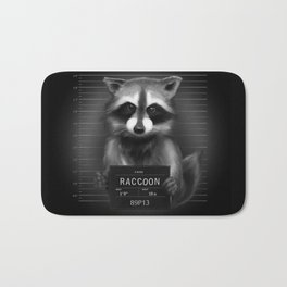 Raccoon Mugshot Bath Mat