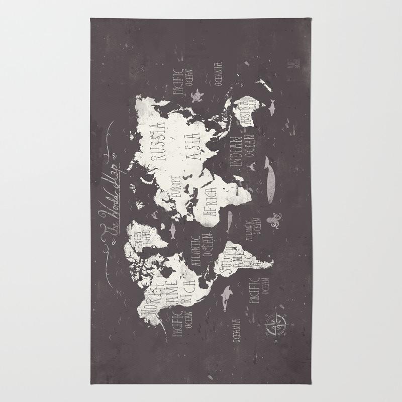 World Map Throw Rug: Vintage Area & Throw Rugs