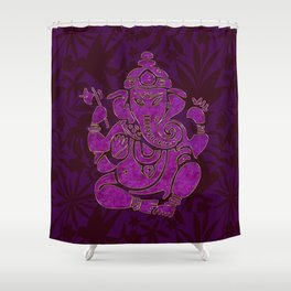 Ganesha Elephant God Purple And Pink Shower Curtain