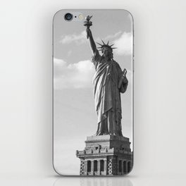 Black and White Statue of Liberty iPhone Skin