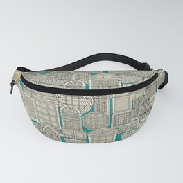 windows teal Fanny Pack