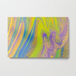 Fluid Art Acrylic Painting, Pour 33, Yellow, Blue, Purple & Green Blended Color Metal Print