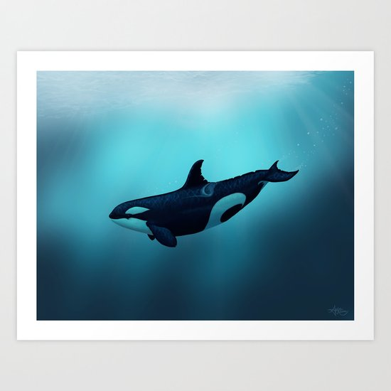 """""""Lost in Serenity"""" by Amber Marine ~ Orca / Killer Whale Art, (c) 2015 Art Print"""