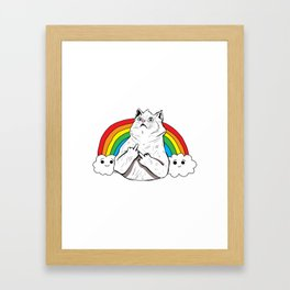 Fluff Off Rainbow Cat Framed Art Print