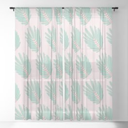 Twice-Pinnate Leaf Pattern Sheer Curtain