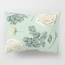 Rose Pattern Cream + Mint Green Pillow Sham