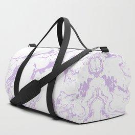 Modern trendy white pastel purple lavender marble pattern Duffle Bag